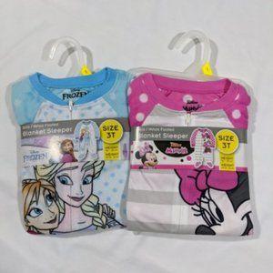 3t girls set of footie zip pajamas